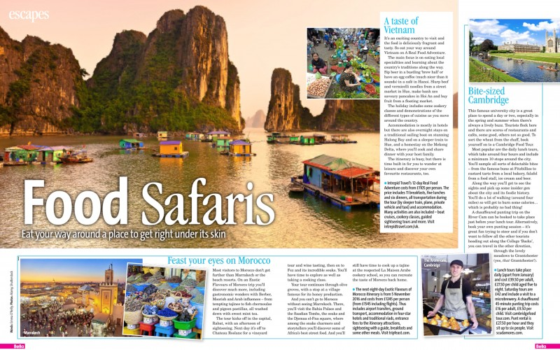 feature in bella magazine on food safaris